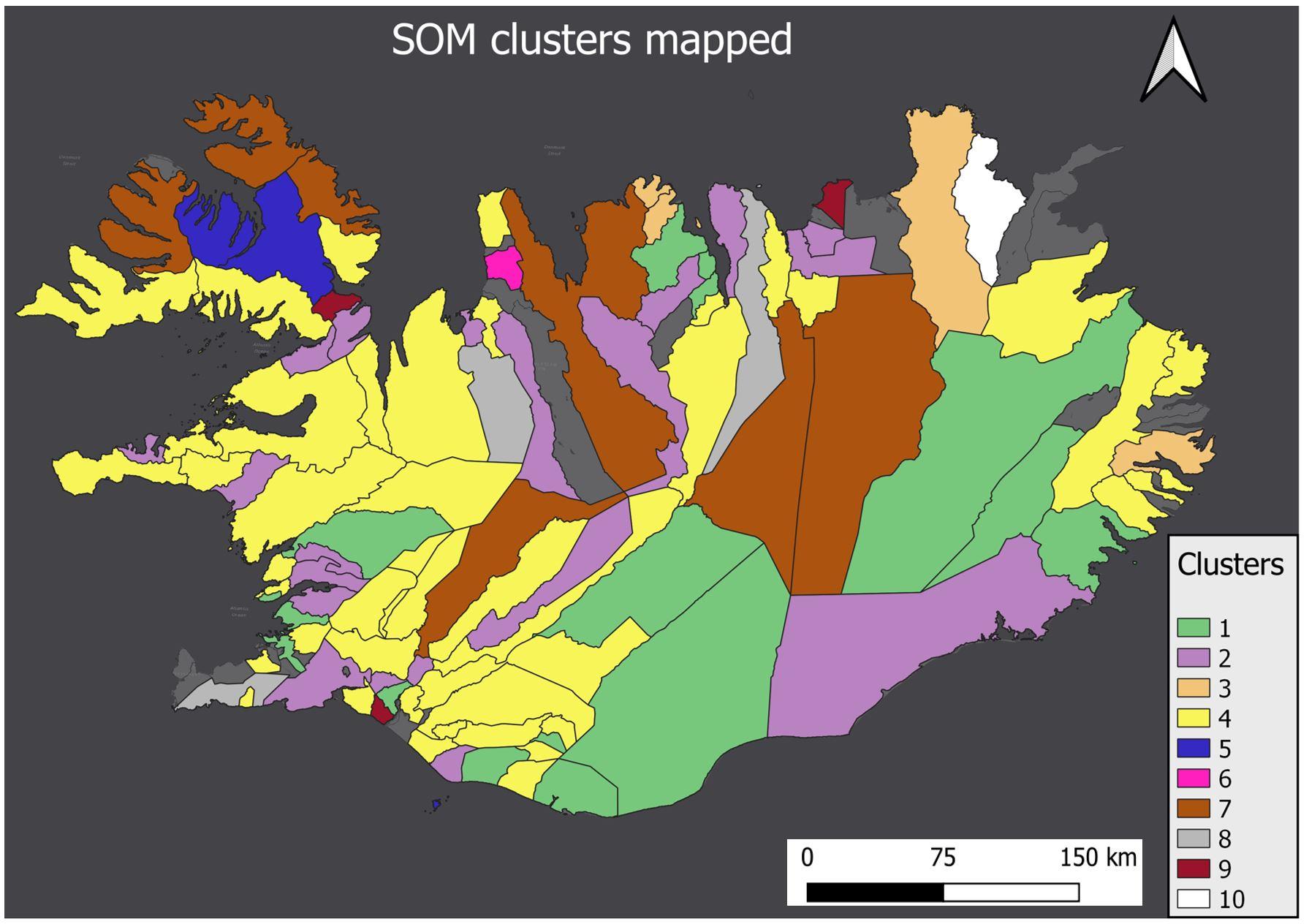 SOM cluster mapped
